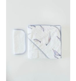 Little Unicorn, LLC Cotton Hooded Towel & Wash Cloth, Narwhal