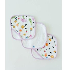 Little Unicorn, LLC Cotton Wash Cloth 3 Pack, Berry & Bloom