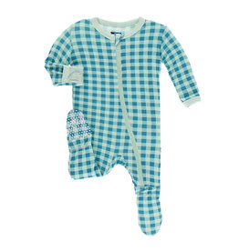 KicKee Pants Kickee Pants Coverall with Snaps, Pistachio Gingham