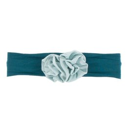 KicKee Pants Kickee Pants Solid Flower Headband, Heritage Blue with Spring Sky