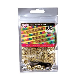 Fashion Angels Tell Your Story Alphabet Bead Bag, Gold Cubes