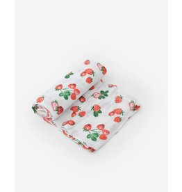 Little Unicorn, LLC Cotton Muslin Swaddle Single, Strawberry Patch