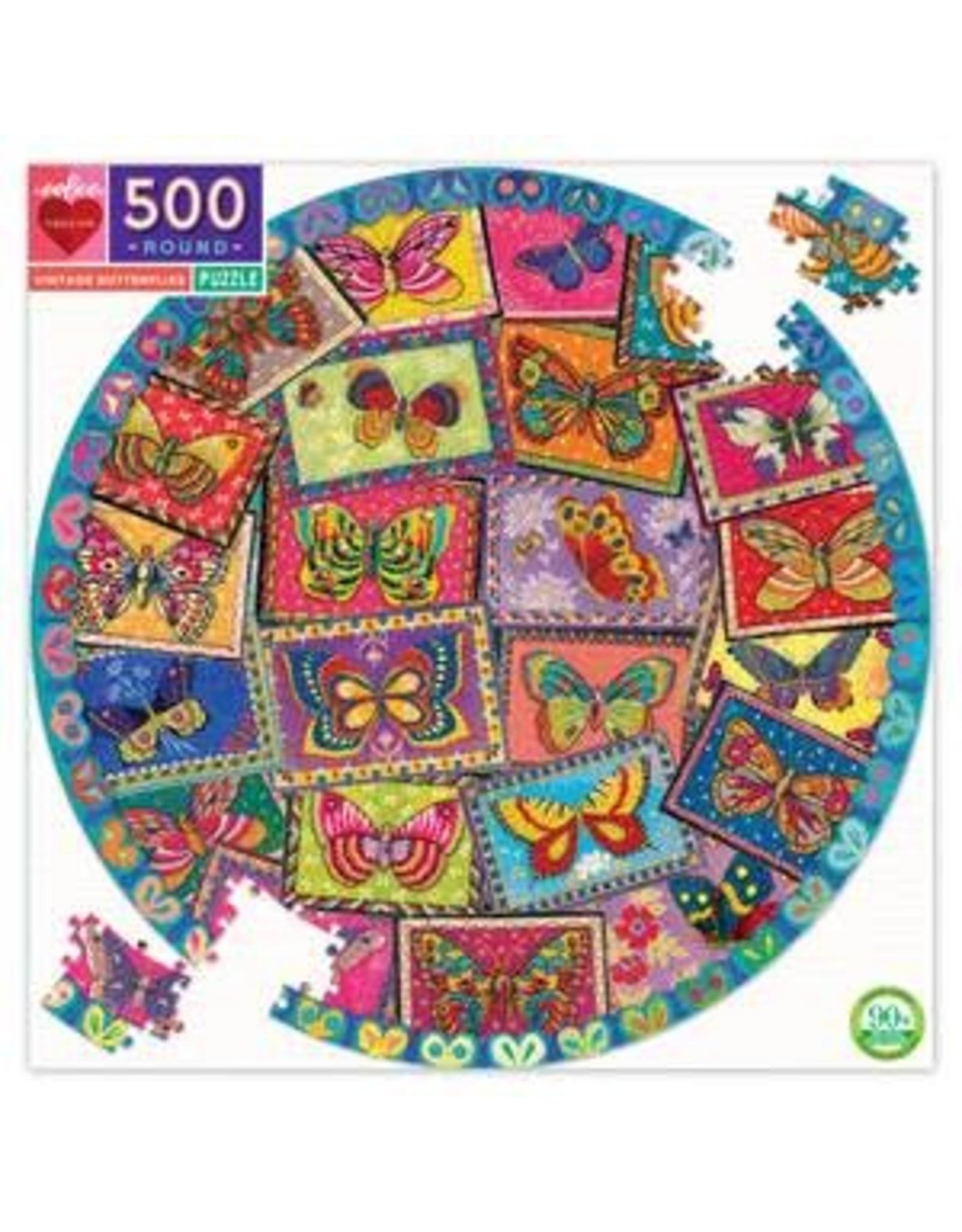 Eeboo Vintage Butterflies Round Puzzle, 500 pc