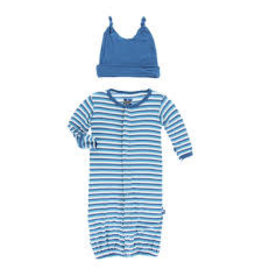 KicKee Pants Kickee Pants Layette Gown and Knot Hat Set, Confetti Anniversary Stripe