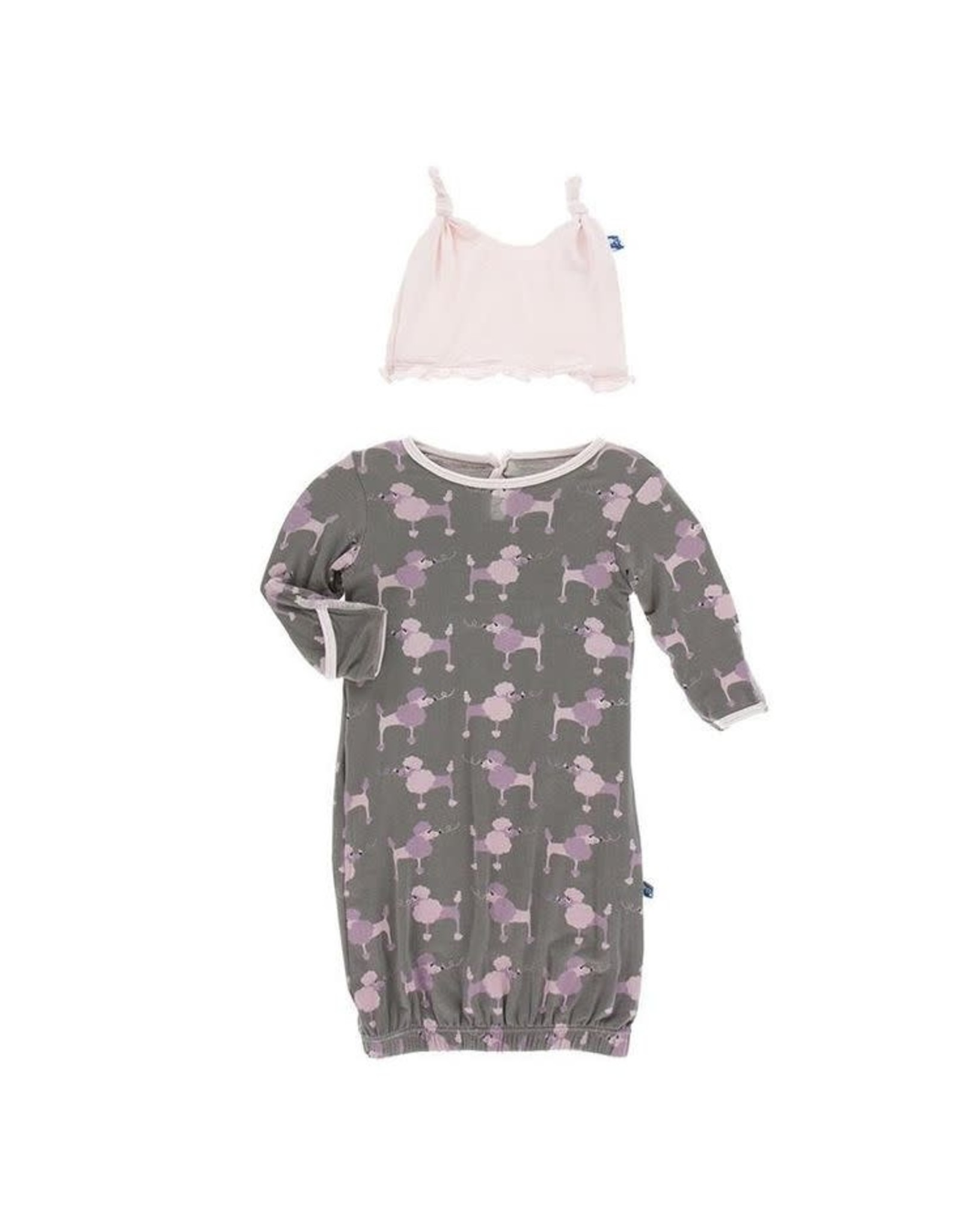 KicKee Pants Kickee Pants Layette Gown and Ruffle Knot Hat Set, Cobblestone Poodle