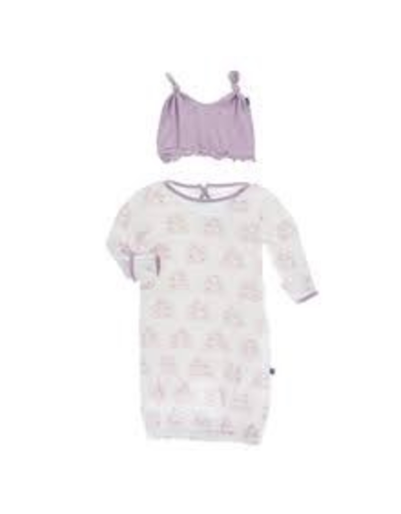 KicKee Pants Kickee Pants Layette Gown and Ruffle Knot Hat Set, Natural Mouse and Cheese