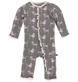 KicKee Pants Kickee Pants Muffin Ruffle Coverall with Snaps, Cobblestone Poodle