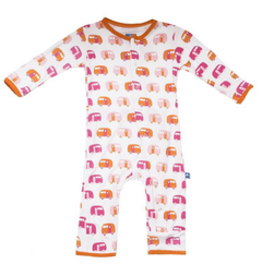 KicKee Pants Kickee Pants Print Coverall with Snaps, Natural Camper