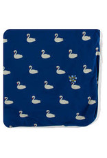 KicKee Pants Kickee Pants Print Throw Blanket, Navy Queen's Swans