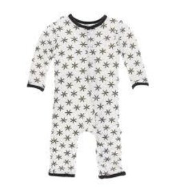 KicKee Pants Kickee Pants Print Coverall with Snaps, Natural Star Anise