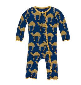 KicKee Pants Kickee Pants Print Coverall with Snaps, Navy Camel