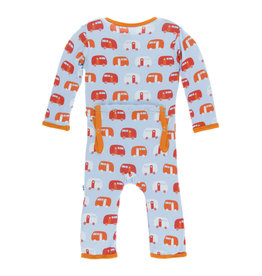 KicKee Pants Kickee Pants Print Coverall with Snaps, Pond Camper