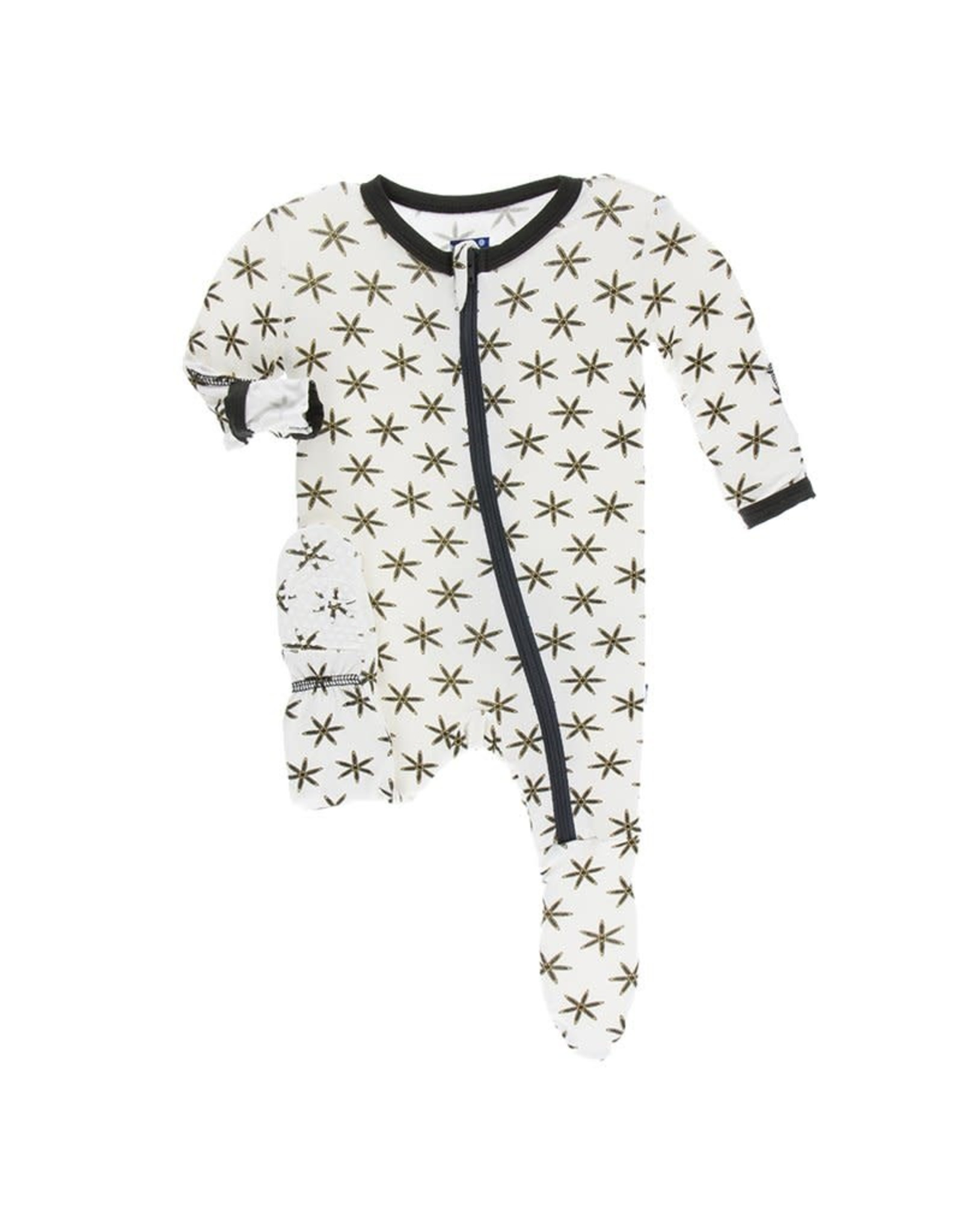 KicKee Pants Kickee Pants Print Footie with Zipper, Natural Star Anise