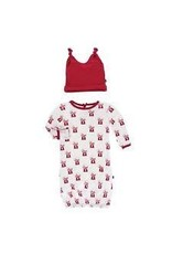 KicKee Pants Kickee Pants Print Layette Gown & Double Knot Hat Set , Natural Gumball Machine