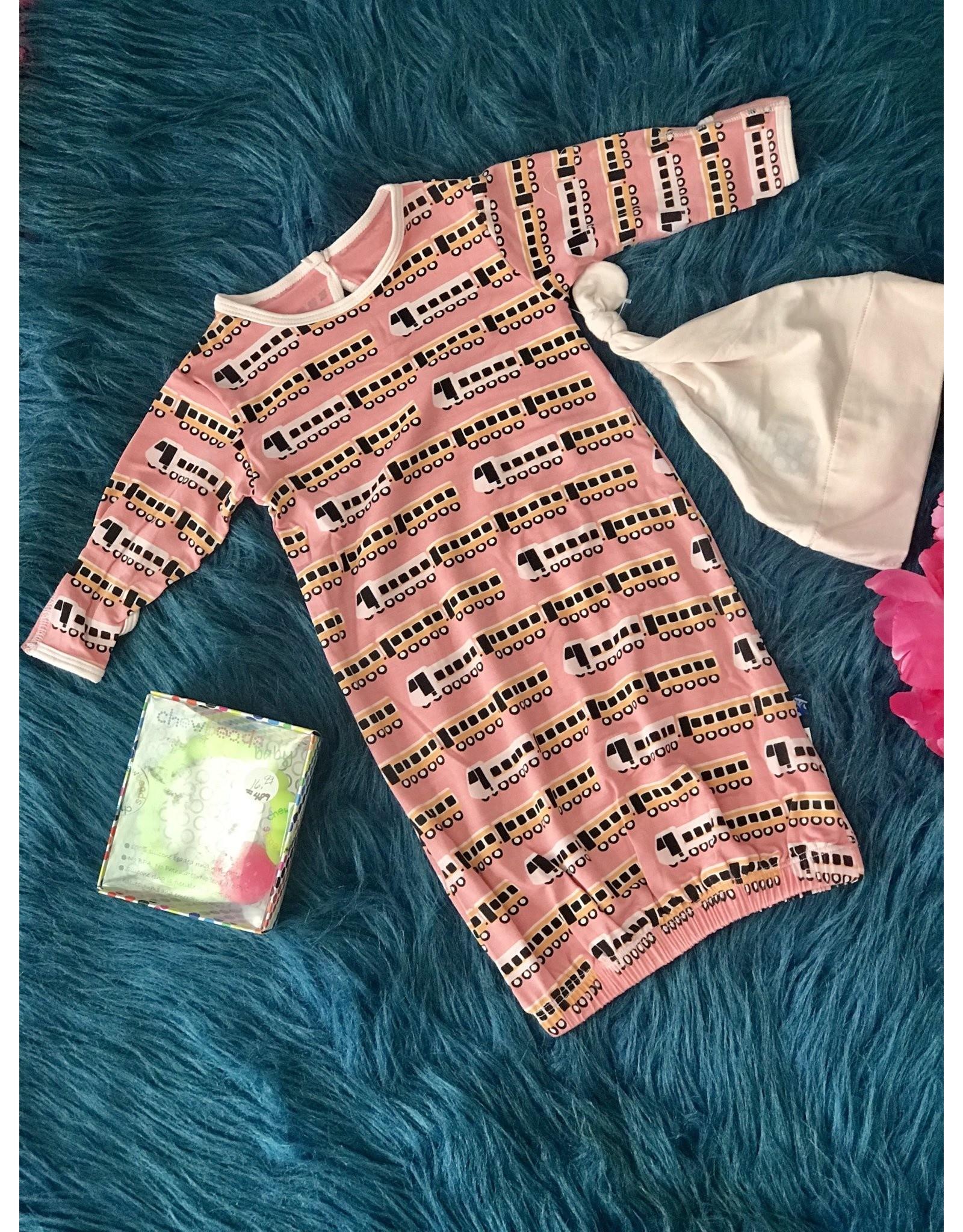 KicKee Pants Kickee Pants Print Layette Gown & Hat Set, Desert Rose Indian Train