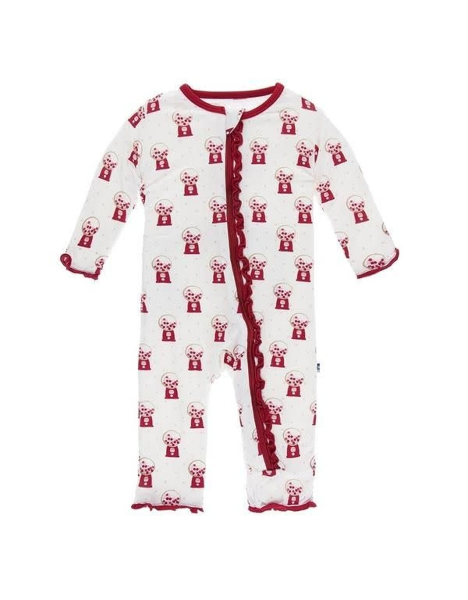 KicKee Pants Kickee Pants Print Muffin Ruffle Coverall with Snaps, Natural Gumball Machine