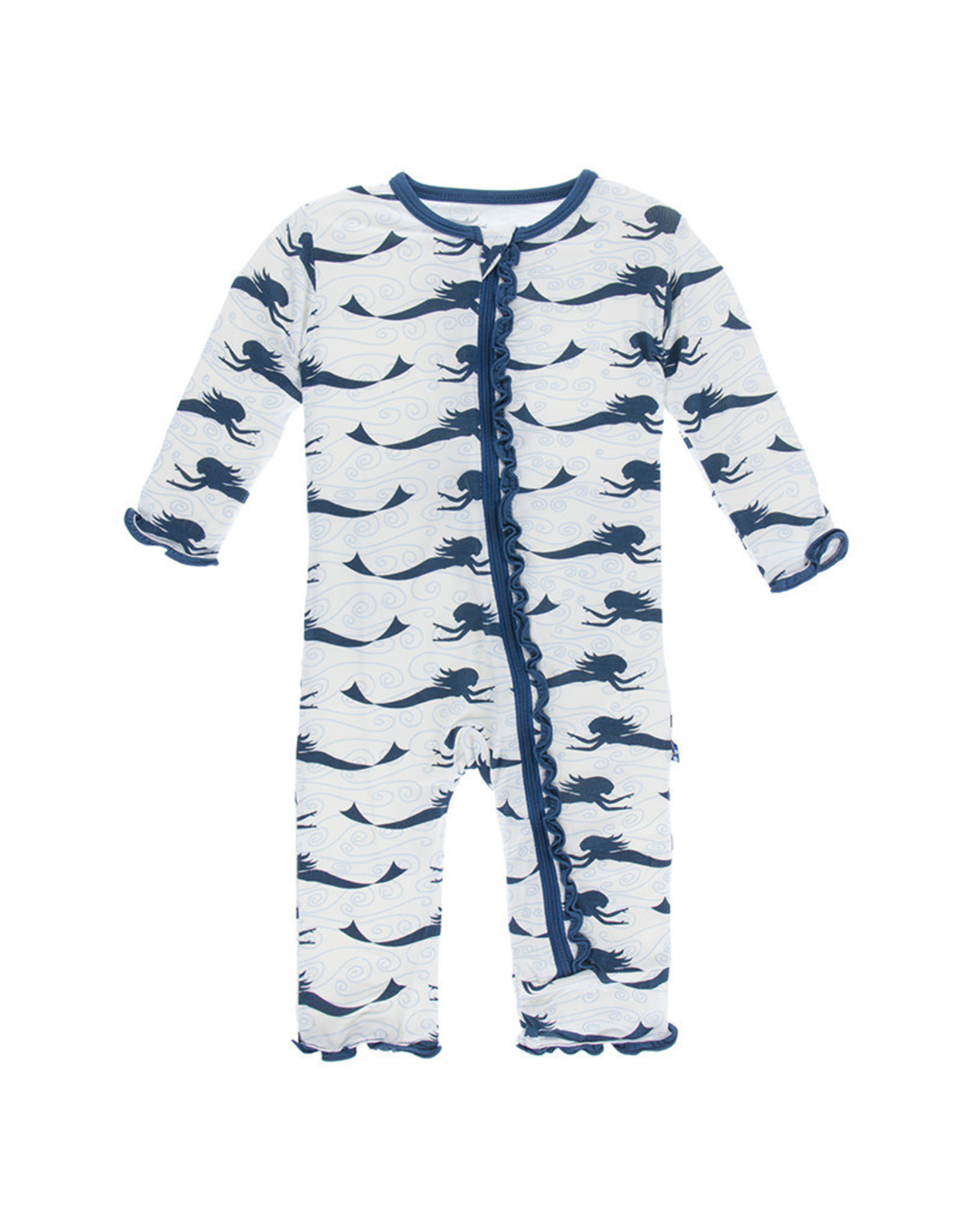 KicKee Pants Kickee Pants Print Muffin Ruffle Coverall with Snaps, Natural Mermaid