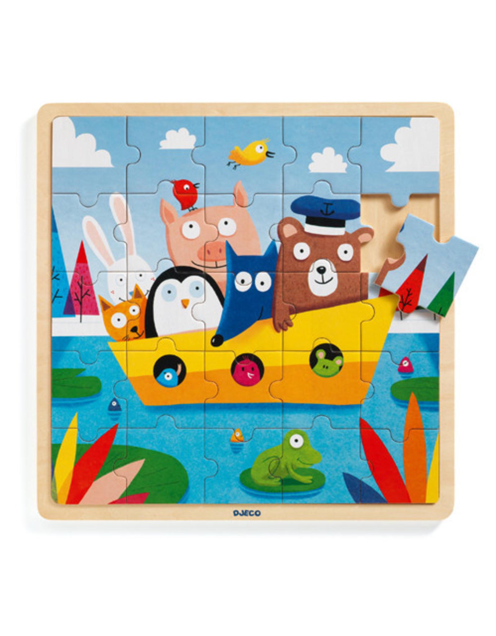 Djeco Wooden Puzzle, Puzzlo Boat, 25 pc