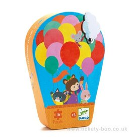 Djeco Silhouette Puzzle, Hot Air Balloon, 16 pc