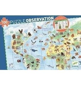 Djeco 100 pcs. Observation Puzzle, World's Animals