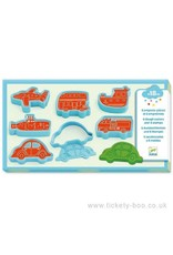 Djeco Modelling Clay, 6 Cookie Cutters, 6 Stamps, Vehicles