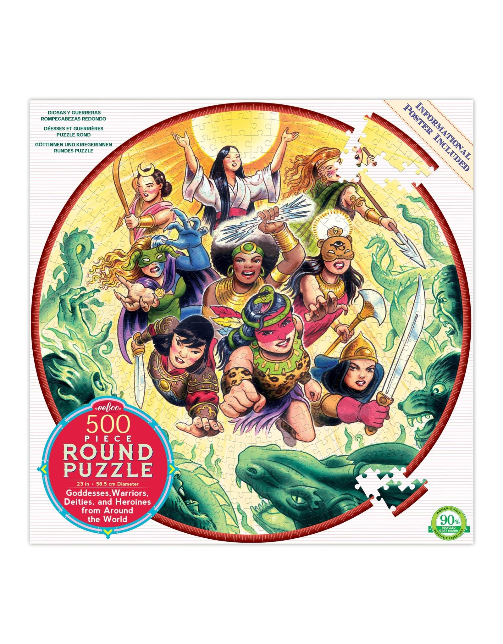 Eeboo 500 pcs. Goddesses and Warriors Round Puzzle