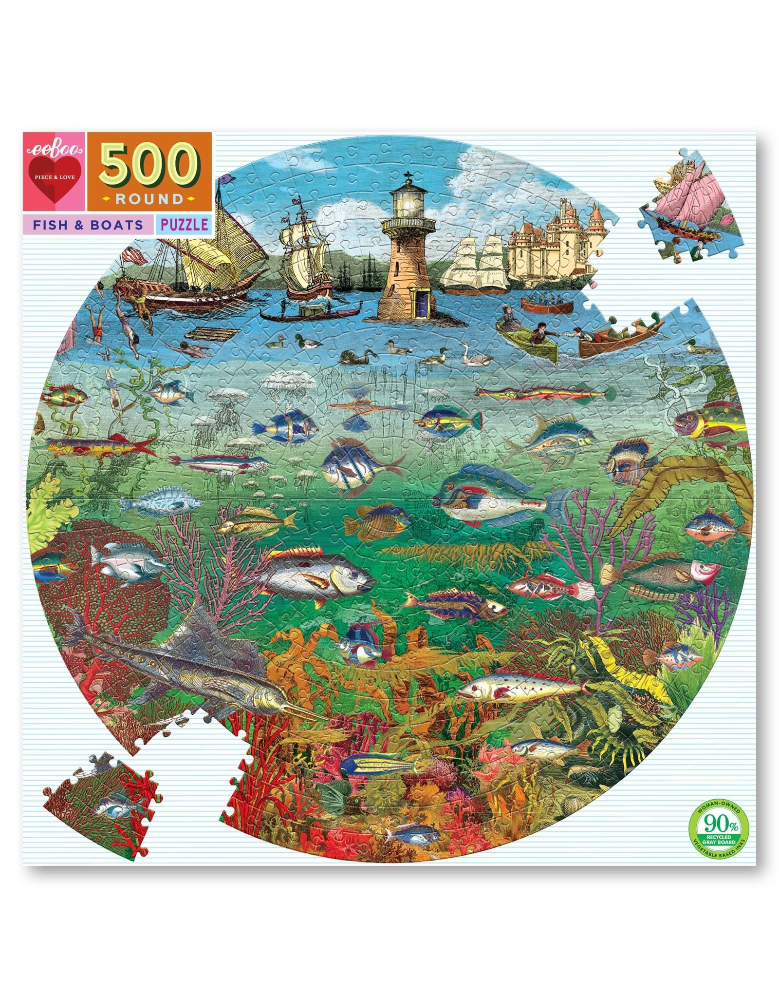 Eeboo 500 pcs. Fish and Boat Round Puzzle