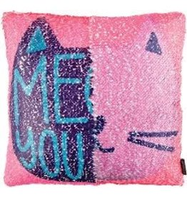 Fashion Angels Magic Sequin Printed Pillow, Meow You Doin