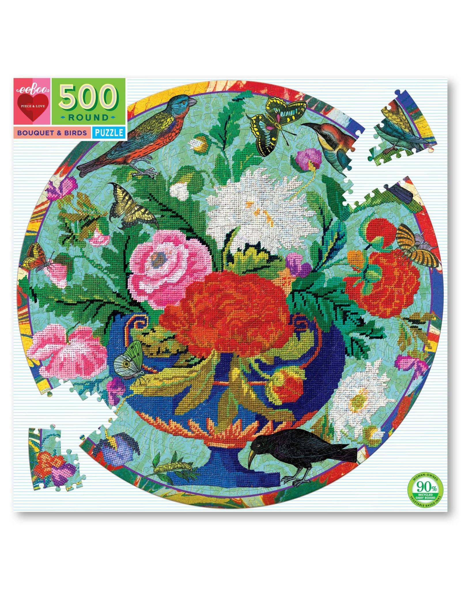 Eeboo 500 pcs. Bouquet and Birds Round Puzzle