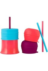 Boon Snug Straw 3 Pack with Lids, Girl