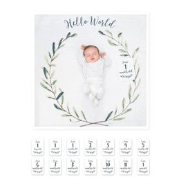 Lulujo Baby Baby's First Year Set, Hello World Wreath