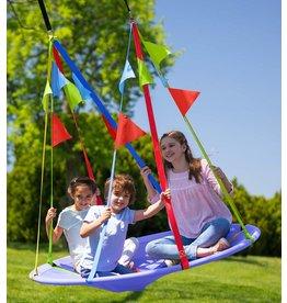 HearthSong Rainbow Flag Round Platform Tree Swing