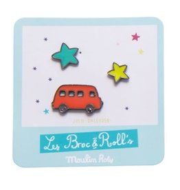 Moulin Roty Broc' & Rolls Red Truck Lacquered Pin