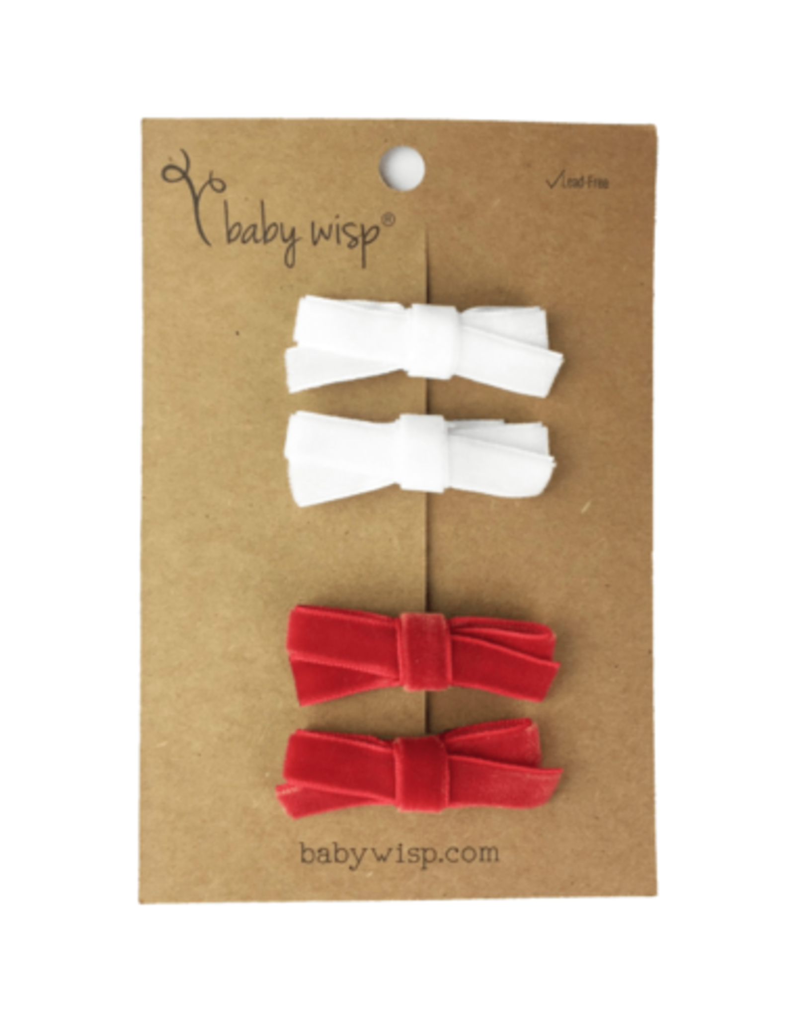 Baby Wisp Baby Wisp Velvet Hand Tied Bows 4pk. Red & White