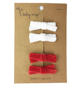 Baby Wisp Baby Wisp Velvet Hand Tied Bows 4pk. Red & White