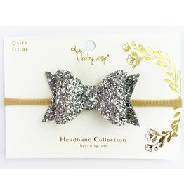 Baby Wisp Babywisp Bow Headband, Silver Glitter