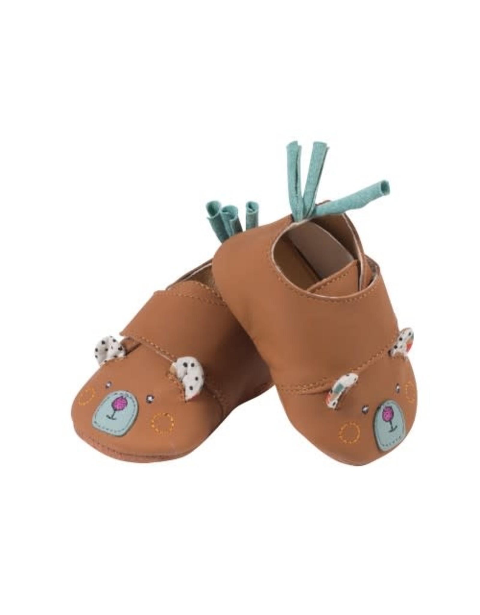 Moulin Roty Jolis Trop Beaux - bear leather slippers (6-12 months)