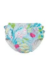 iPlay Ruffle Snap Swim Diaper, Aqua Coral Reef, 4T