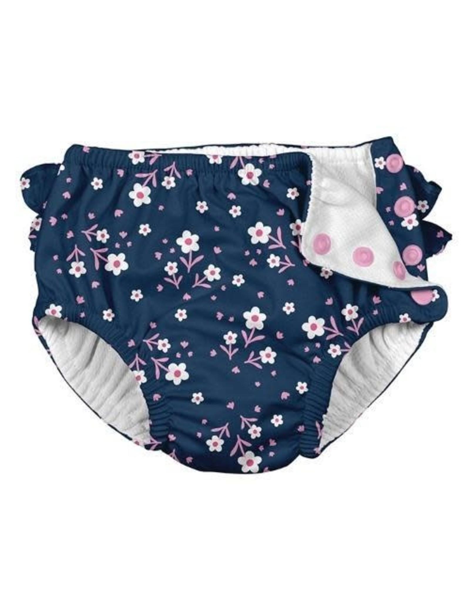 iPlay Ruffle Snap Swim Diaper, Navy Posies, 4T