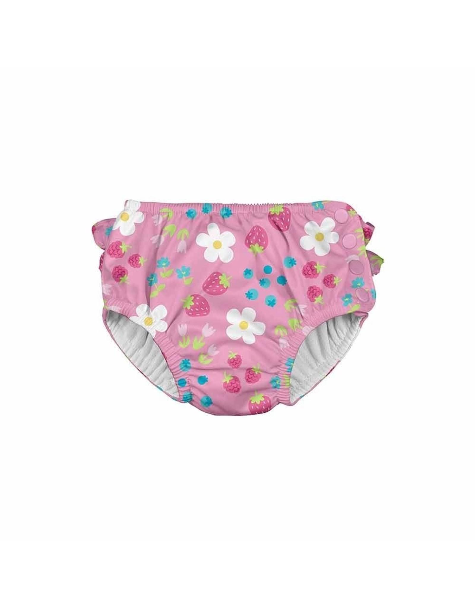 iPlay Ruffle Snap Swim Diaper, Daisy Fruit, 4T