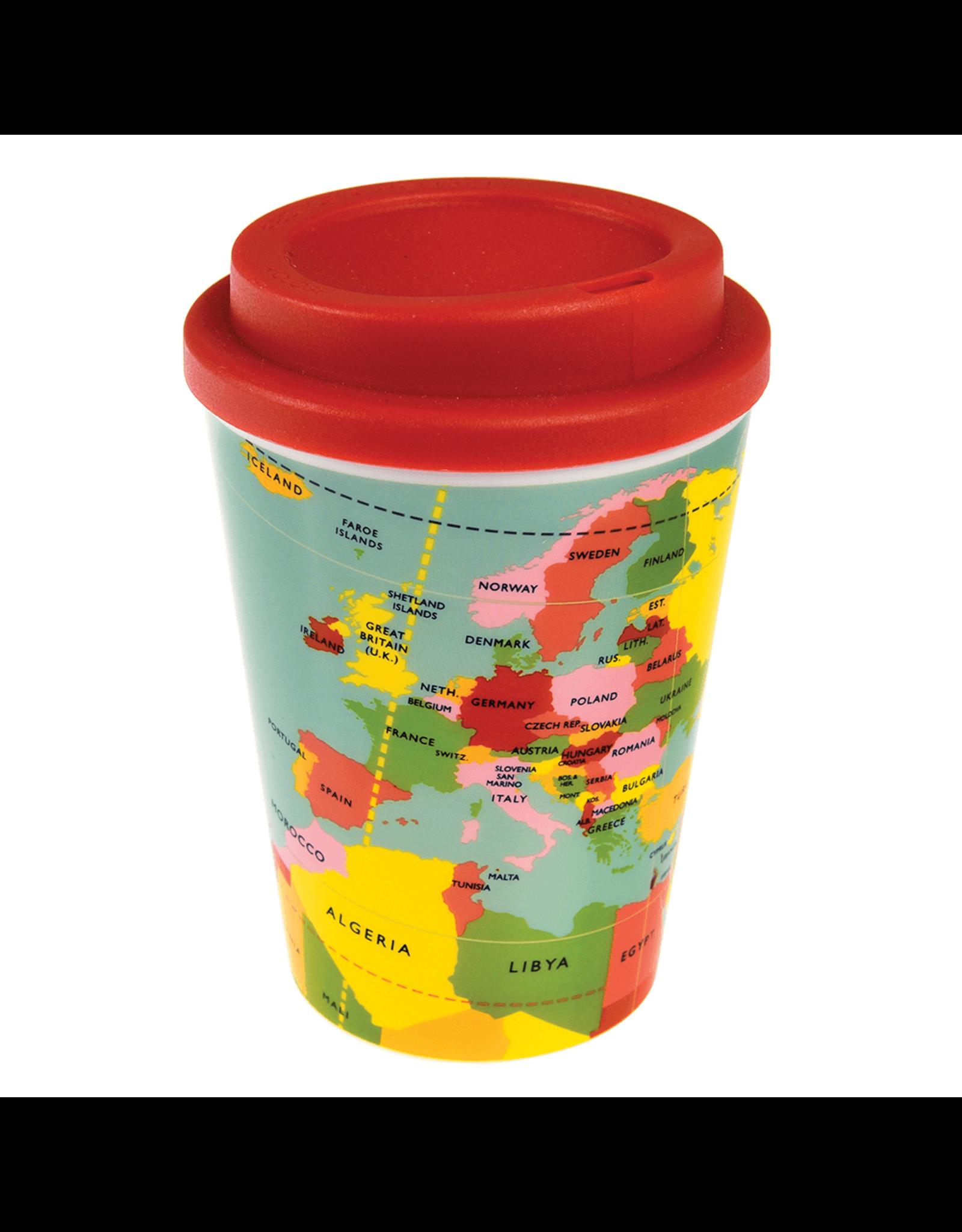 REX London Reusable Travel Mug, World Map