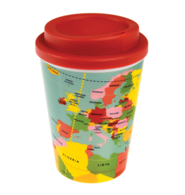 REX London Reusable Travel Mug, World Map