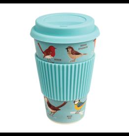 REX London Reusable Bamboo Travel Mug, Garden Birds