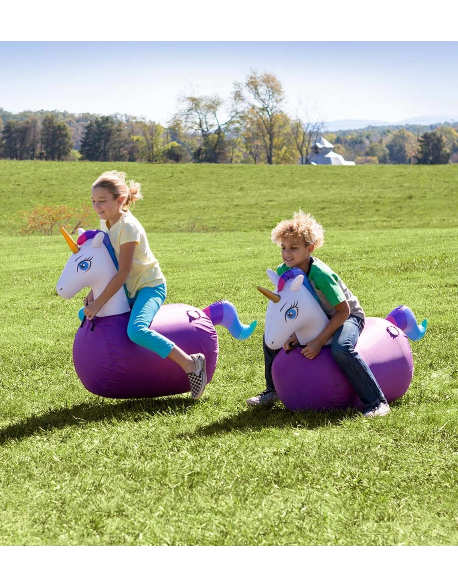 HearthSong Inflatable Ride-On Hop 'n Go Unicorns, Set of 2
