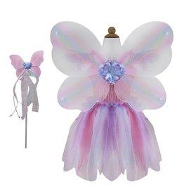 Great Pretenders Butterfly Dress with Wings & Wand, Pink/Multi, Size 5-6