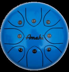 """Amahi Ukulele 8"""" Steel Tongue Drum, Blue"""