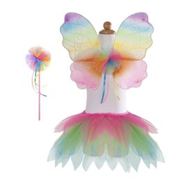 Great Pretenders Neon Rainbow Tutu with Wings & Wand, Size 4-6