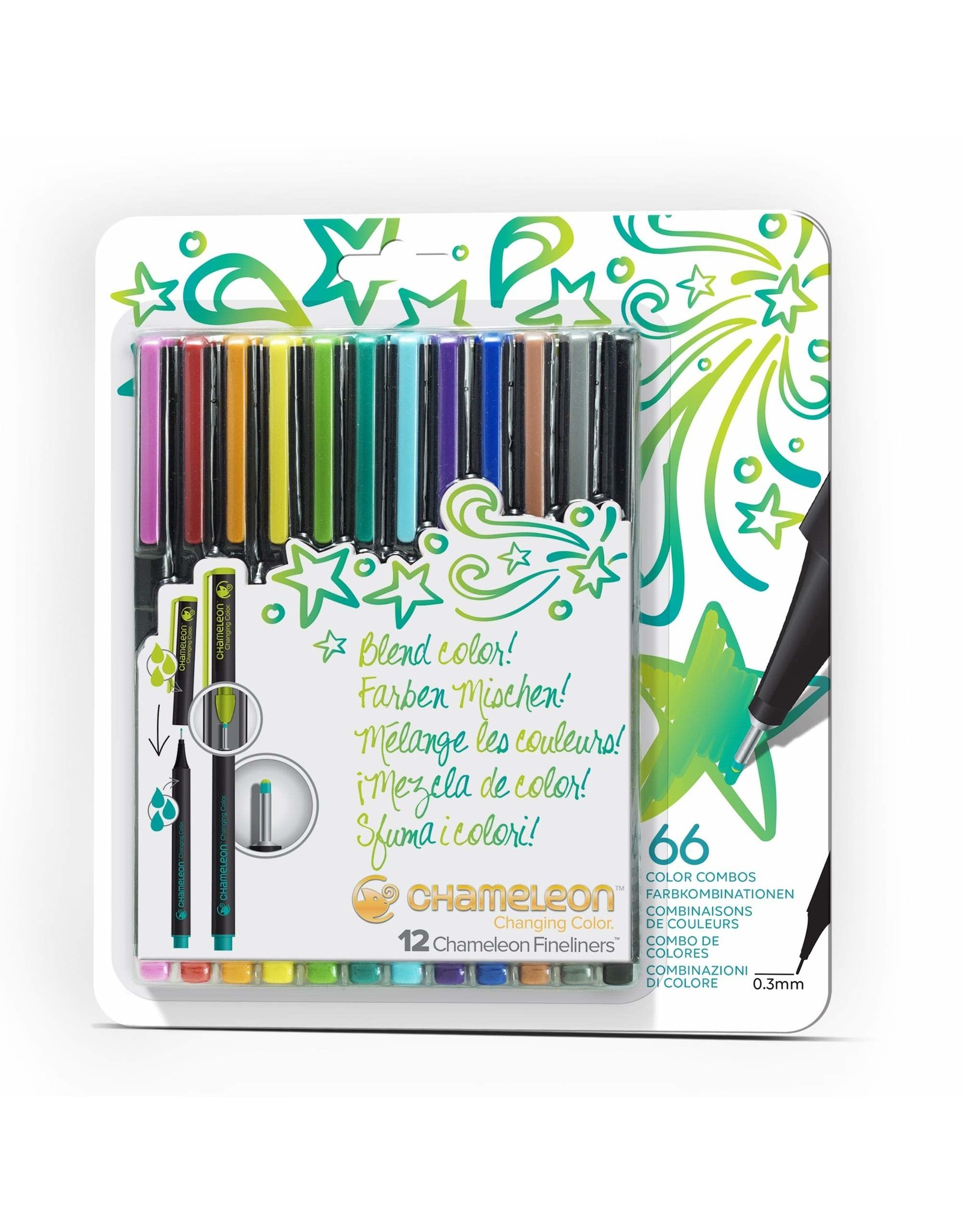 Imagination International Chameleon Fineliners 12 pack, Bright Colours