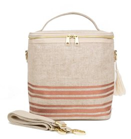 So Young Linen Lunch Poche, Rose Gold Horizontal Stripe