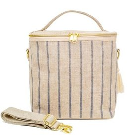 So Young Linen Lunch Poche, Slate Pinstripe
